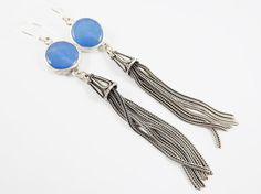 Blue Round Gemstone Tassel Earrings  Jade  by NazarLuckDesign