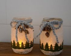 Snowy Woodland Christmas Mason Jar Luminary – Christmas Decorations – Hostess Gift – Holiday … - Home & DIY Christmas Decorations Diy Crafts, Christmas Projects, Holiday Crafts, Christmas Crafts, Mason Jar Crafts, Mason Jar Diy, Christmas Mason Jars, Christmas Candles, Woodland Christmas