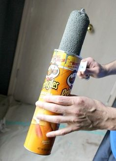 How To Paint a Room-when you leave your roller overnight put it in a Pringles can!