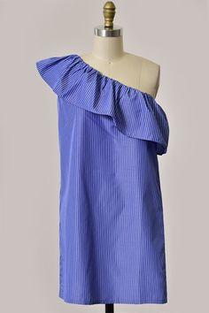 Hers & Mine Striped One Shoulder Dress