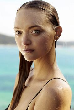 Gemma Ward looks gorgeous even following a swim. // Gemma Ward for Country Road