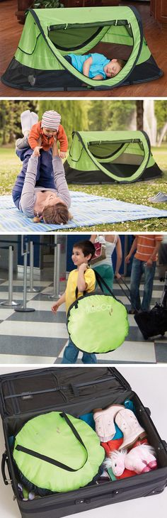 PeaPod Nap Tent // the only travel bed you'll need for a baby, indoors and out! Keeps the mosquitoes from biting your little one. Folds up light and compact as hand luggage! #product_design
