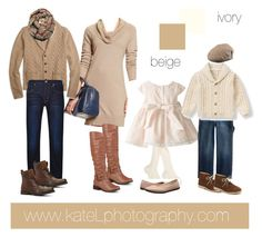 Beige/ivory/neutral outfit inspiration: what to wear for a family photo session in the fall. Created by Kate Lemmon, www.kateLphotography.com
