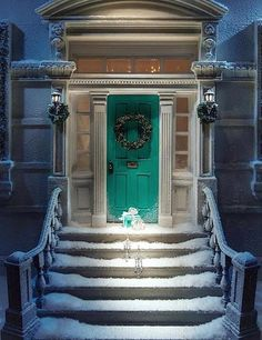 front door appeal | ... | Christmas Exterior | Holiday Stoop | Curb Appeal | Teal Door Color