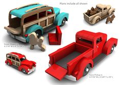 Buy and build the 1940 Farm Pickup + Estate Wagon full-size wood toy plan set!