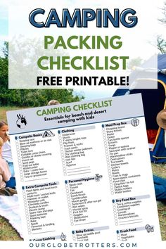 Be ready for camping season this summer with a super detailed camping preparation checklist   All the camping gear and items you might want to pack for your next family camping trip - includes a printable camping checklist you can tick off as you go   Camping checklist   PDF printable camping list   Essentials for camping   Family camping vacation   Our Globetrotters Family Travel Blog Camping Supply List, Camping List, Beach Camping, Camping And Hiking, Camping With Kids, Camping Gear, Camping Checklist Family, Camping Packing, Camping Essentials