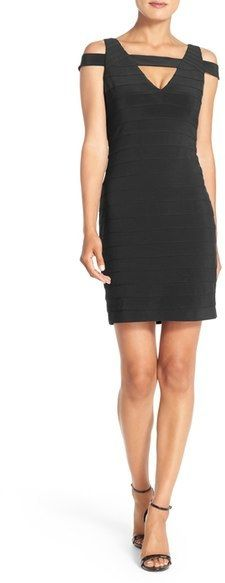 Adrianna Papell Cold Shoulder Knit Body-Con Dress