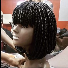 Excited to share this item from my shop: Braided wig/ bang braided wig/ fringe/ bob with box braids .Made to order. Bob Box Braids Styles, Short Box Braids, Blonde Box Braids, Jumbo Box Braids, Box Braids Styling, Braids Wig, Braid Styles, Bob Braids, Short Hair