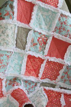 Baby Girl Rag Quilt Coral Gray Aqua Nursery Ready to Ship