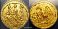 KOSON and JUNIUS BRUTUS.GOLD STATER. ANACS AU58. ORIGINAL PATINA AND EYE APPEAL