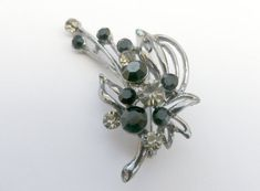 Silver tone brooch flower spray brooch black by Taingtiques