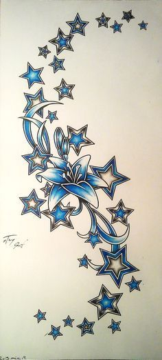 Star tattoo design by TayGriff. For me, personally, Lily would be only outlined with shading and stars would be the colors of my kids' birth month. Oh, and this would either be a side piece, part of my half sleeve or a hip/leg piece