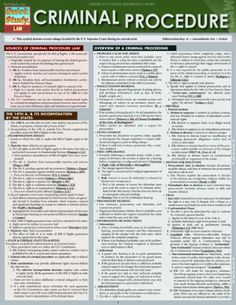 Criminal Procedure (Quick Study Law) by Inc. BarCharts http://www.amazon.com/dp/1423219562/ref=cm_sw_r_pi_dp_DgFStb14BQPWYFCY $6.25