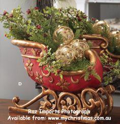Raz Imports sleigh.  www.mychristmas.com.au