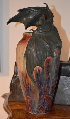 "Contemporary Sculpture - ""amphora Richard Freiwald bat art pottery vase"" (Original Art from Freiwald Art Pottery)"