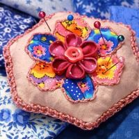 How-To: Kanzashi Flower and Hexie Pincushion