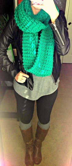 Pop of color with chunky scarf.