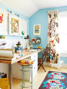 love this #craftroom, seen this pic before & fell in love with the curtain, but never noticed the sliding corkboard