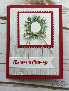 Simple Christmas wreath card using the Painted Harvest stamp from Stampin Up