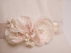 Bridal sash in blush ivory cream Flower sash by floraljewellery