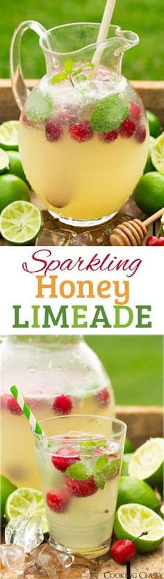 Sparkling Honey Limeade Non Alcoholic Drink Recipe via Cooking Classy - I love this flavor combo! Such a refreshing drink!! The BEST Easy Non-Alcoholic Drinks Recipes - Creative Mocktails and Family Friendly, Alcohol-Free, Big Batch Party Beverages for a Crowd! #mocktails #virgindrinks #alcoholfreedrinks #nonalcoholicdrinks #familyfriendlydrinks #partypunch #partydrinks #newyearseve #partydrinkrecipes