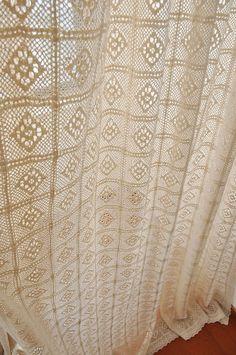 Crochet curtains romantic floor-length lace cotton cream