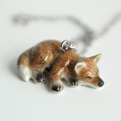 Sleeping Red Fox Necklace
