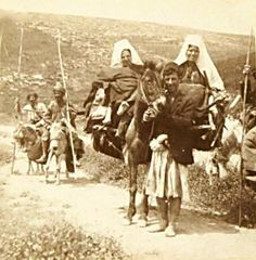 Bethlehem - بيت لحم : Women of Bethlehem 71 - (late 19th early 20th c.)  1897,  Road to Jericho on Mules