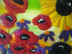 felted picture, sunflowers and poppies, wet felted art via Etsy