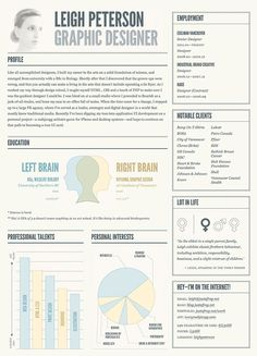 Graphic resume - like color, left right brain Cv Inspiration, Graphic Design Inspiration, Design Ideas, Marca Personal, Personal Branding, Web Design, Cv Curriculum Vitae, Visual Resume, Resume Layout