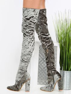 Thigh High Velvet Boots OLIVE 48.90