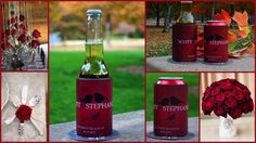Vibrant Red Autumn Wedding Koozies by Coolaz Need #wedding favors? WE got them customized for you! #weddingfavors