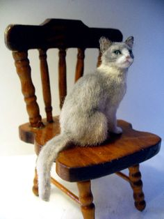 Dollhouse Miniature Short Haired Gray & White Cat *Handsculpted* in Dolls & Bears, Dolls' Miniatures & Houses, Hand-Made Items | eBay