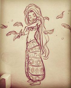 Femme hippie dessin