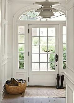 FRONT DOOR IDEAS – Among the very first points about a house that a guest or home buyer notices are the front doors. If you wish to make a statement, upgrading or overhauling your front door … Exterior Doors With Glass, Glass Doors, Front Door With Glass, Entry Hallway, White Hallway, Front Entrances, Entrance Doors, Patio Doors, House Entrance