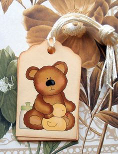 Tag Baby Shower Teddy Bear Yellow Duck Vintage Style by bljgraves, $4.00