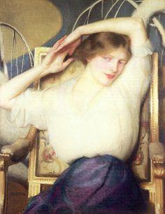 ♀ Painted Art Portraits ♀  William McGregor Paxton | Portrait of Enid Hallin
