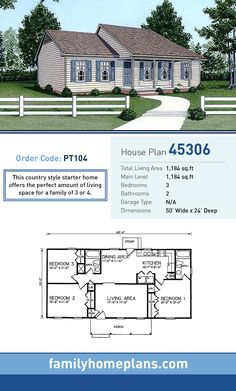 Architectural Designs Simple House Plan 960025NCK is a single story     Starter Home Plan 45306   Total Living Area  1 184 SQ FT  3 bedrooms and