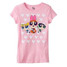 Girls 7-16 Powerpuff Girls Bubbles, Blossom & Buttercup Hearts Graphic Tee, Girl's, Size: Small, Med Pink