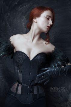 Farhell by Sachtikus #photography #portrait #dark #beauty #redhead #feathers #art #czech