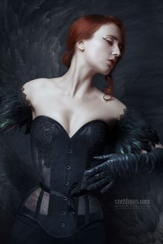 Farhell by Sachtikus #photography #portrait #dark #beauty #redhead #feathers #art #czech