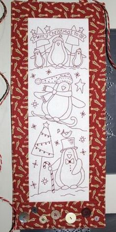 CHILLY PENGUINS pre printed stitchery