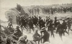 British soldiers march into battle - WWI World War One, First World, Old World, The Dead Lands, Ww1 Tanks, History Page, Magnum Opus, British Soldier, D Day