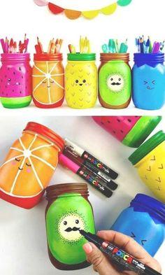 to Make Rainbow Fruit Mason Jar Craft - 130 Easy Craft Ideas Using Mason Jar. How to Make Rainbow Fruit Mason Jar Craft - 130 Easy Craft Ideas Using Mason Jar.How to Make Rainbow Fruit Mason Jar Craft - 130 Easy Craft Ideas Using Mason Jar. Pot Mason Diy, Mason Jar Crafts, Diy Crafts With Mason Jars, Uses For Mason Jars, Cute Crafts, Diy And Crafts, Simple Crafts, Simple Craft Ideas, Simple Diy