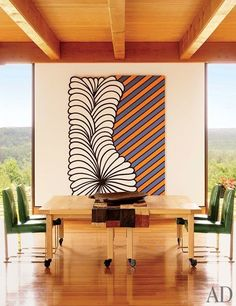 A dining room with vibrant art | archdigest.com