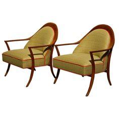 Pair of T.H. Robsjohn-Gibbings Saber Leg Chairs for Widdicomb