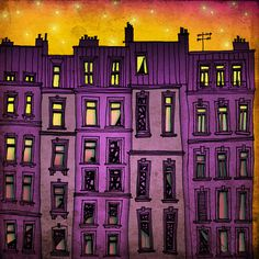 Paris purple facade illustration by Tubidu Graphics