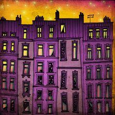 Paris purple facade illustration by Tubidu Graphics