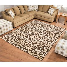 "Terra Trellis Rug, Chocolate Brown, Beige $118.47 7'9"" x 10'6"""