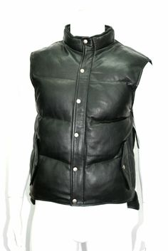 Mens Leather Puffer Body Warmer Waistcoat Gilet Sleeveless Casual Jacket Black Leather Biker Jacket Description Premium quality leather Front zip fastening and popper button fly 2 hand pocket 1 inside pocket All adding to its sexy saucy look New Mens Fashion, Korean Fashion Men, Leather Fashion, Man Fashion, Fashion Wear, Casual Sweaters, Casual Shirts For Men, Lambskin Leather, Leather Men